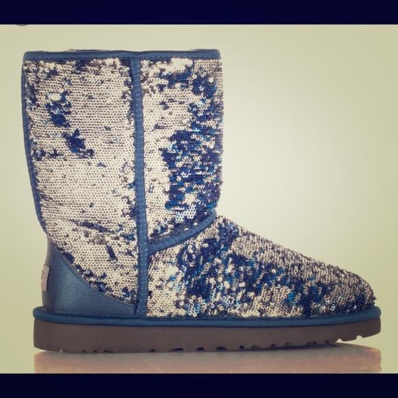 ugg shoes australia classic short sparkles navy poshmark rh poshmark com
